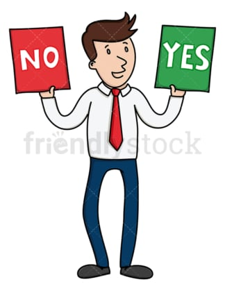 Businessman holding yes and no signs. PNG - JPG and vector EPS file formats (infinitely scalable). Image isolated on transparent background.