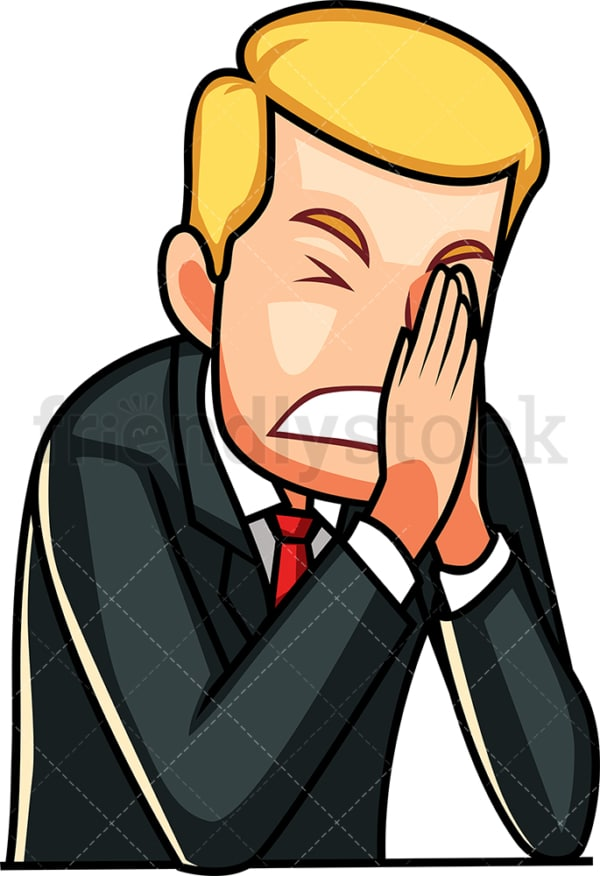 Businessman in despair. PNG - JPG and vector EPS file formats (infinitely scalable). Image isolated on transparent background.
