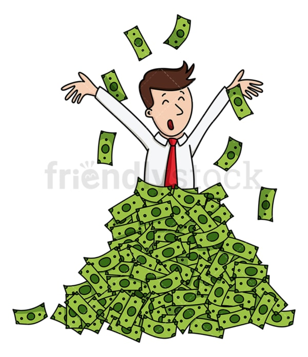 Businessman in pile of cash tossing up. PNG - JPG and vector EPS (infinitely scalable).