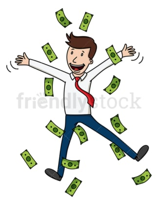 Businessman jumping for joy amidst cash. PNG - JPG and vector EPS (infinitely scalable).
