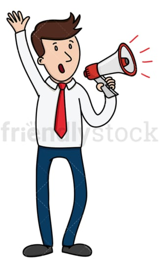 Businessman making announcement with megaphone. PNG - JPG and vector EPS (infinitely scalable).