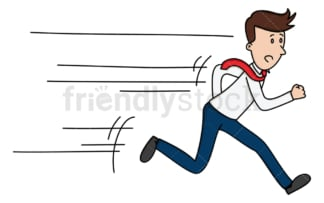 Businessman running as fast as he can. PNG - JPG and vector EPS file formats (infinitely scalable). Image isolated on transparent background.