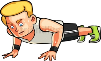 Caucasian man doing push-ups. PNG - JPG and vector EPS file formats (infinitely scalable). Image isolated on transparent background.