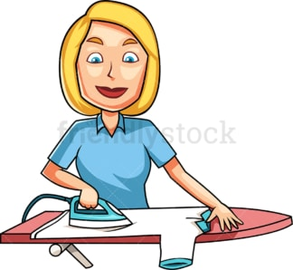 Caucasian woman ironing t-shirt. PNG - JPG and vector EPS file formats (infinitely scalable). Image isolated on transparent background.