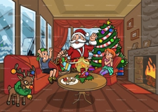 Children with santa claus in living room. PNG - JPG and vector EPS file formats (infinitely scalable). Image isolated on transparent background.