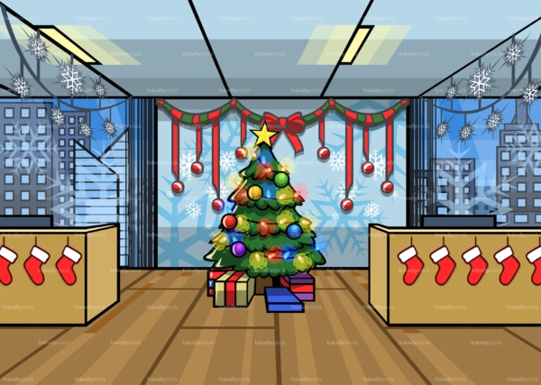 Christmas decorated office background. PNG - JPG and vector EPS file formats (infinitely scalable). Image isolated on transparent background.