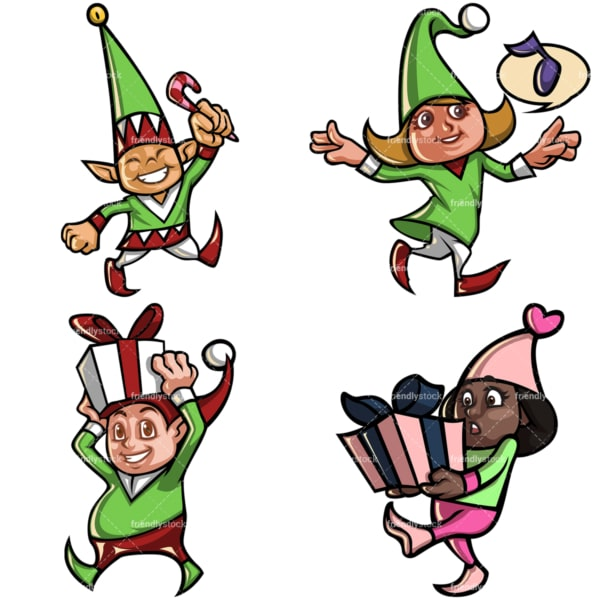 Christmas elves cartoon bundle. PNG - JPG and vector EPS file formats (infinitely scalable). Image isolated on transparent background.