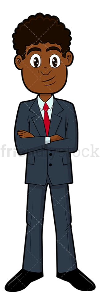Confident black businessman standing. PNG - JPG and vector EPS file formats (infinitely scalable). Image isolated on transparent background.