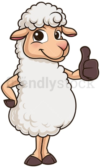 Cute sheep thumbs up. PNG - JPG and vector EPS (infinitely scalable).