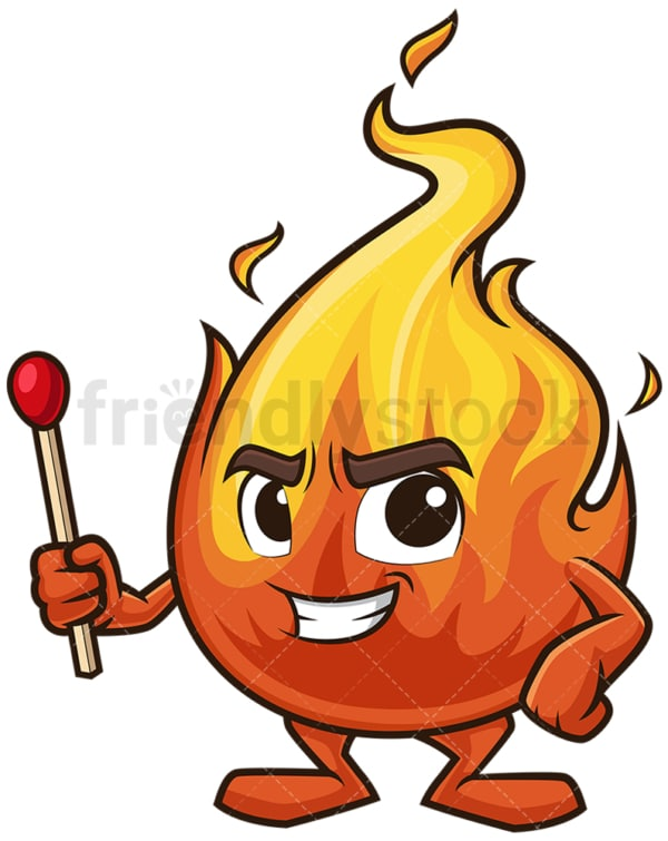 Flame mascot holding match stick. PNG - JPG and vector EPS (infinitely scalable).