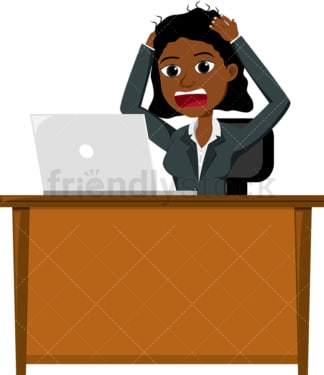 Freaked out black woman looking at her screen. PNG - JPG and vector EPS file formats (infinitely scalable). Image isolated on transparent background.