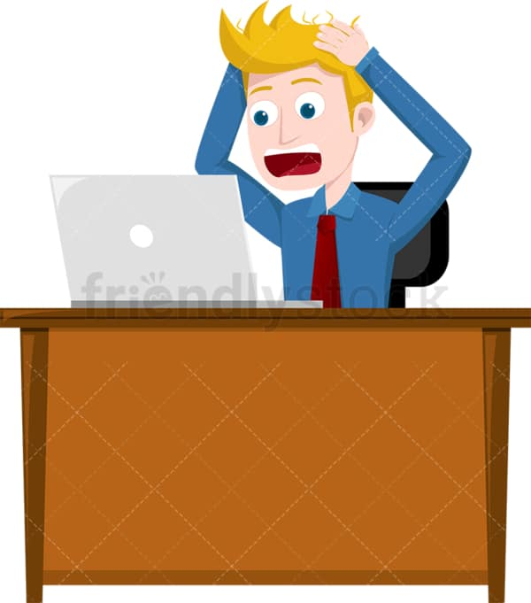 Frustrated man looking at his laptop screen. PNG - JPG and vector EPS file formats (infinitely scalable). Image isolated on transparent background.