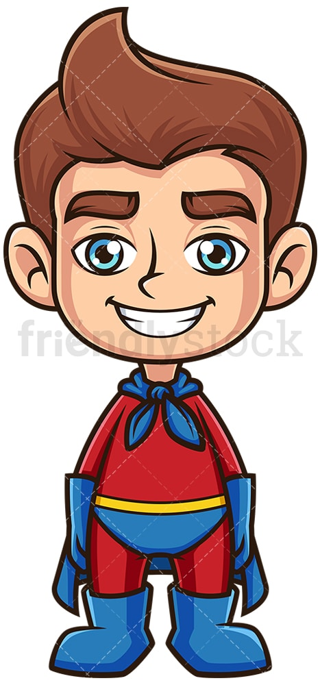 Happy kid superhero. PNG - JPG and vector EPS (infinitely scalable).