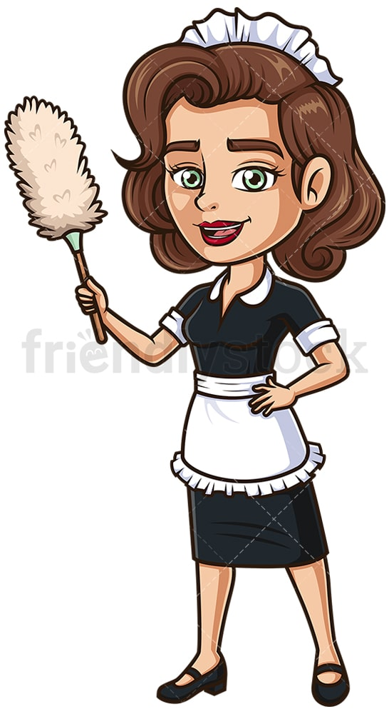 Maid holding lambswool duster. PNG - JPG and vector EPS (infinitely scalable).