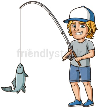 Man catching fish. PNG - JPG and vector EPS (infinitely scalable).