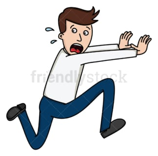 Man frantically running away. PNG - JPG and vector EPS file formats (infinitely scalable). Image isolated on transparent background.