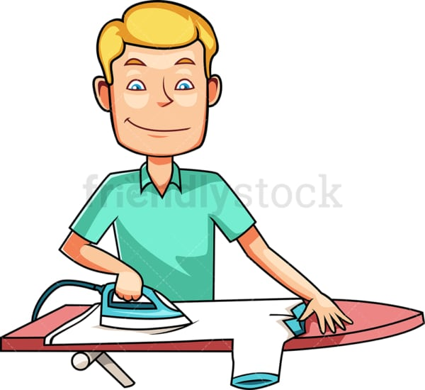 Man ironing t-shirt. PNG - JPG and vector EPS file formats (infinitely scalable). Image isolated on transparent background.