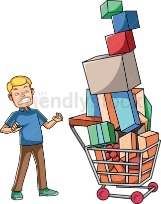 Man looking at his overfull cart. PNG - JPG and vector EPS file formats (infinitely scalable). Image isolated on transparent background.