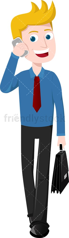 Man talking on the phone as he walks down the street. PNG - JPG and vector EPS file formats (infinitely scalable). Image isolated on transparent background.