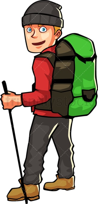 Man wearing hiking gear and backpack. PNG - JPG and vector EPS file formats (infinitely scalable). Image isolated on transparent background.