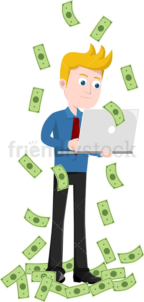 Man working with laptop while money rain down around him. PNG - JPG and vector EPS file formats (infinitely scalable). Image isolated on transparent background.