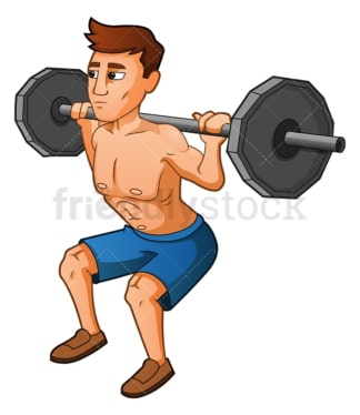 Muscular man executing squat with barbell. PNG - JPG and vector EPS (infinitely scalable).