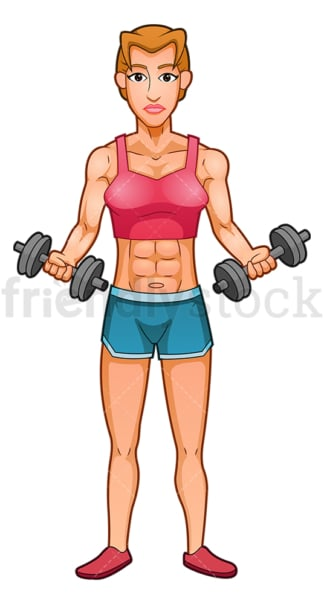 Muscular woman bicep curls with dumbbells. PNG - JPG and vector EPS (infinitely scalable).