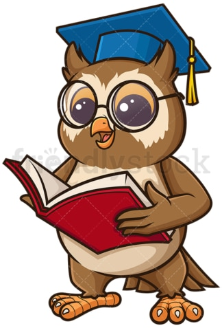 Owl teacher holding open book. PNG - JPG and vector EPS (infinitely scalable).
