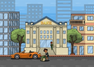 Rich black woman pulling bag of cash to the bank. PNG - JPG and vector EPS file formats (infinitely scalable). Image isolated on transparent background.