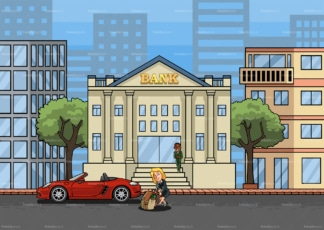 Rich woman pulling bag of money to the bank. PNG - JPG and vector EPS file formats (infinitely scalable). Image isolated on transparent background.