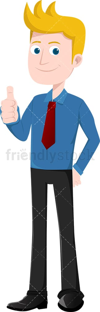 Smiling businessman giving the thumbs up. PNG - JPG and vector EPS file formats (infinitely scalable). Image isolated on transparent background.