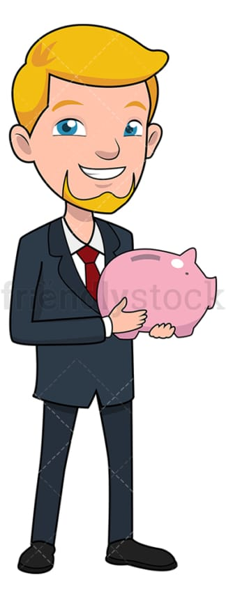 Smiling businessman holding piggy bank. PNG - JPG and vector EPS file formats (infinitely scalable). Image isolated on transparent background.