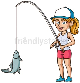 Woman catching fish. PNG - JPG and vector EPS (infinitely scalable).