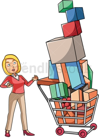 Woman looking at overfull cart with guilt. PNG - JPG and vector EPS file formats (infinitely scalable). Image isolated on transparent background.