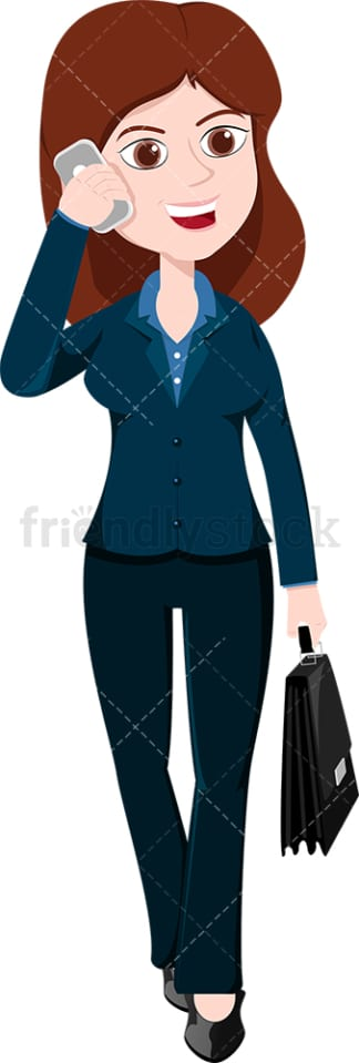 Woman talking on mobile phone as she walks. PNG - JPG and vector EPS file formats (infinitely scalable). Image isolated on transparent background.