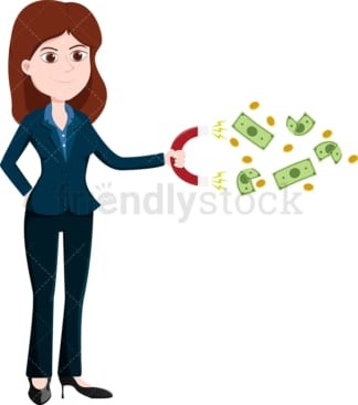 Woman using magnet to attract money. PNG - JPG and vector EPS file formats (infinitely scalable). Image isolated on transparent background.