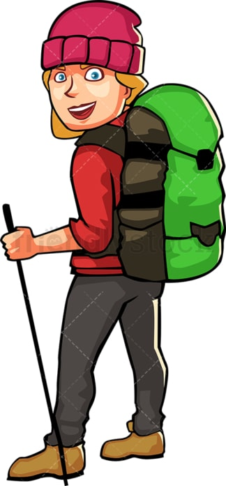 Woman wearing hiking gear and backpack. PNG - JPG and vector EPS file formats (infinitely scalable). Image isolated on transparent background.