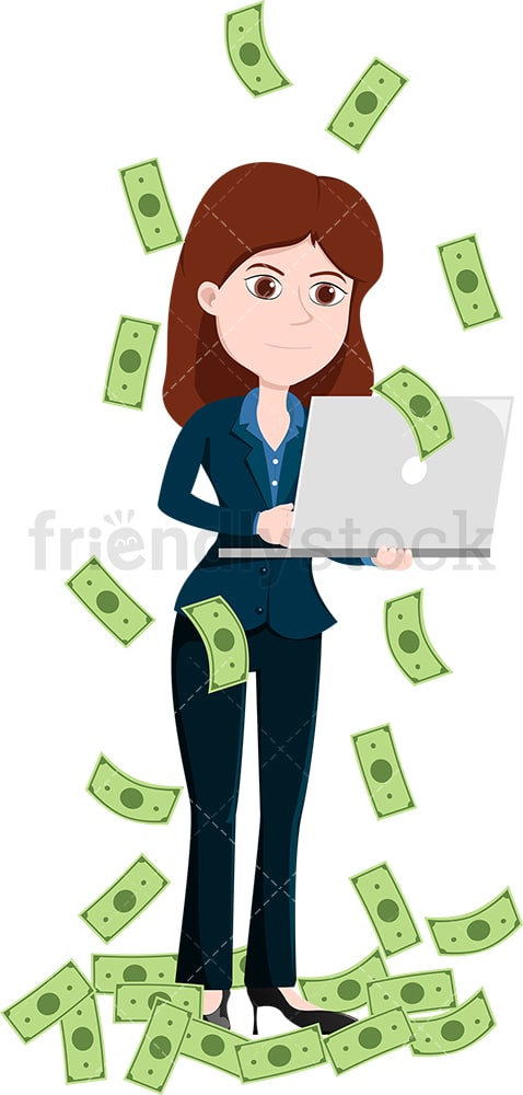 Woman working away on her laptop amidst money rain. PNG - JPG and vector EPS file formats (infinitely scalable). Image isolated on transparent background.