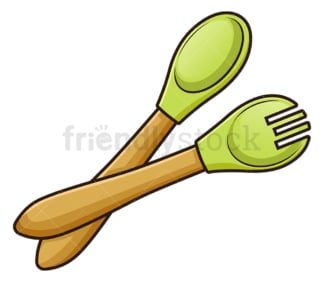 Baby utensils fork and spoon. PNG - JPG and vector EPS file formats (infinitely scalable). Image isolated on transparent background.