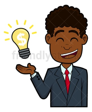 Black businessman major breakthrough. PNG - JPG and vector EPS file formats (infinitely scalable). Image isolated on transparent background.