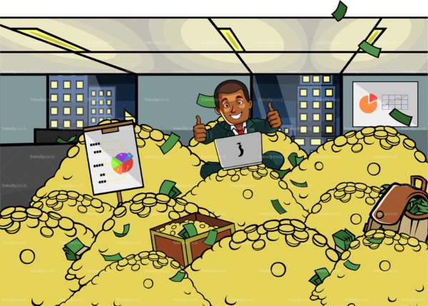 Black businessman with laptop buried in gold. PNG - JPG and vector EPS file formats (infinitely scalable). Image isolated on transparent background.