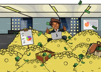 Black woman with laptop atop pile of money. PNG - JPG and vector EPS file formats (infinitely scalable). Image isolated on transparent background.