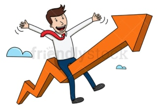 Businessman taking off on giant arrow. PNG - JPG and vector EPS (infinitely scalable).