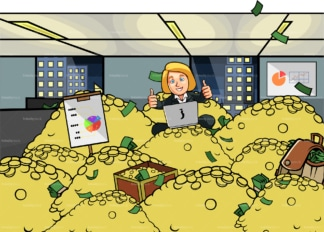 Corporate woman with laptop atop pile of money. PNG - JPG and vector EPS file formats (infinitely scalable). Image isolated on transparent background.