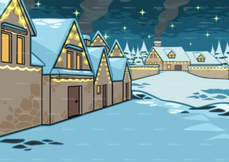 Covered in snow village houses background. PNG - JPG and vector EPS file formats (infinitely scalable). Image isolated on transparent background.