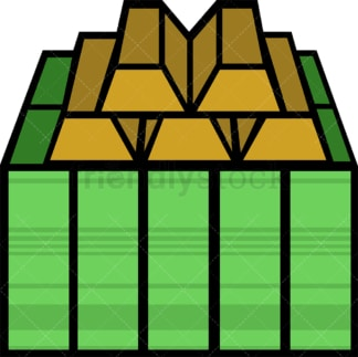 Pile of money bills and some gold bars. PNG - JPG and vector EPS file formats (infinitely scalable). Image isolated on transparent background.