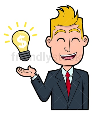 Smart businessman money-making idea. PNG - JPG and vector EPS file formats (infinitely scalable). Image isolated on transparent background.
