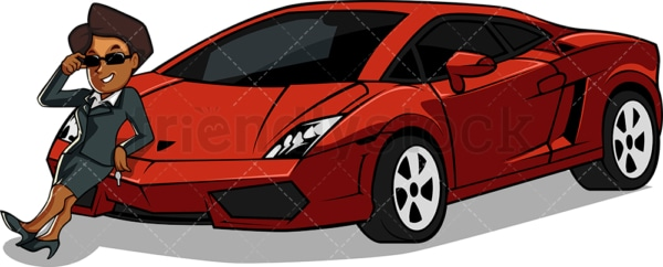 Wealthy black woman showing off supercar. PNG - JPG and vector EPS file formats (infinitely scalable). Image isolated on transparent background.