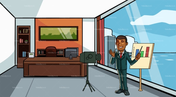 Black businessman recording a video at the office. PNG - JPG and vector EPS file formats (infinitely scalable). Image isolated on transparent background.