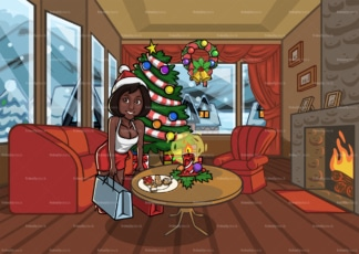 Black woman holding shopping bags in christmas house. PNG - JPG and vector EPS file formats (infinitely scalable). Image isolated on transparent background.